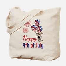 Happy 4th Doggy with Balloons Tote Bag