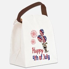 Happy 4th Doggy with Balloons Canvas Lunch Bag