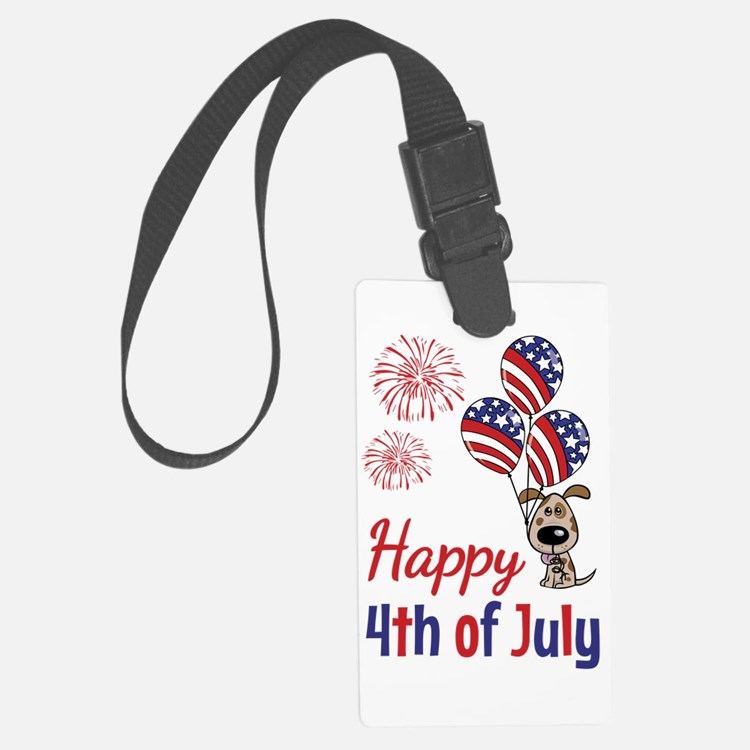 Happy 4th Doggy with Balloons Luggage Tag