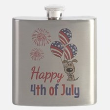 Happy 4th Doggy with Balloons Flask