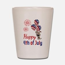 Happy 4th Doggy with Balloons Shot Glass