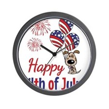 Happy 4th Doggy with Balloons Wall Clock