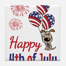 Happy 4th Doggy with Balloons Tile Coaster