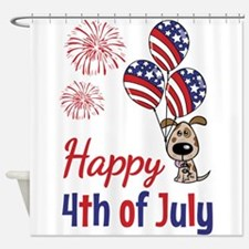 Happy 4th Doggy with Balloons Shower Curtain