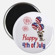 "Happy 4th Doggy with Balloons 2.25"" Magnet (10 pac"