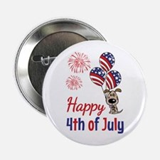 """Happy 4th Doggy with Balloons 2.25"""" Button (10 pac"""