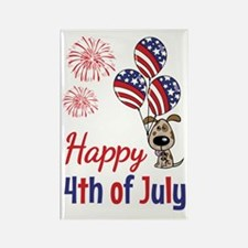 Happy 4th Doggy with Balloons Rectangle Magnet (10