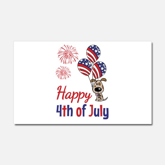 Happy 4th Doggy with Balloons Car Magnet 20 x 12