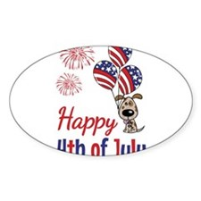 Happy 4th Doggy with Balloons Decal