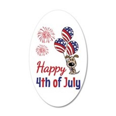 Happy 4th Doggy with Balloons Wall Decal