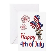 Happy 4th Doggy with Balloons Greeting Cards (Pk o