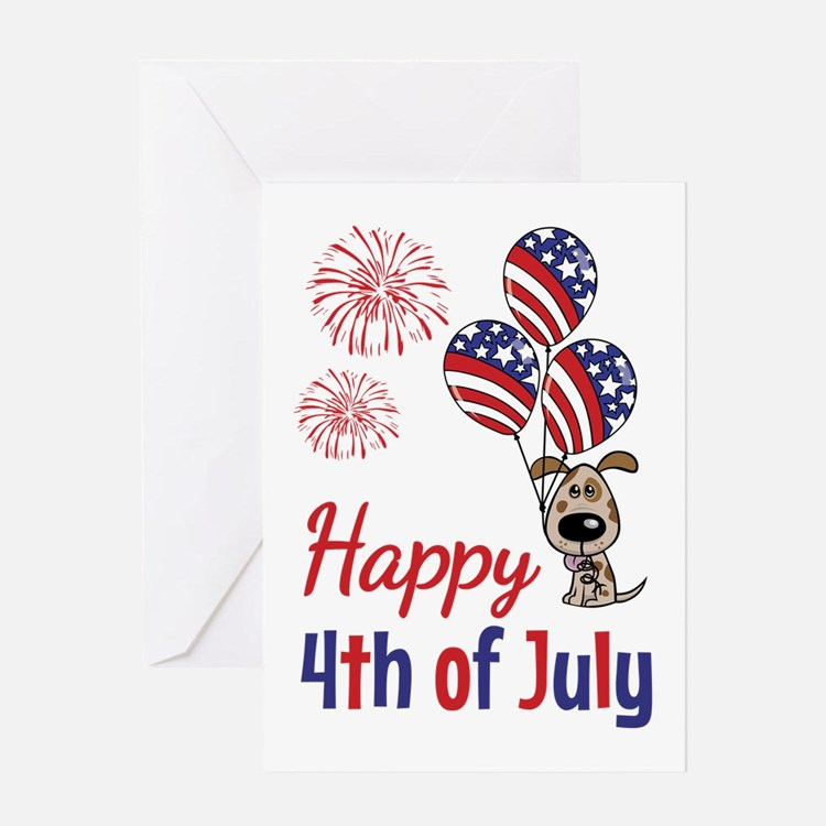 Happy 4th Doggy with Balloons Greeting Card