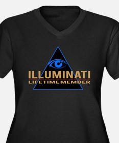 Unique Illuminati Women's Plus Size V-Neck Dark T-Shirt