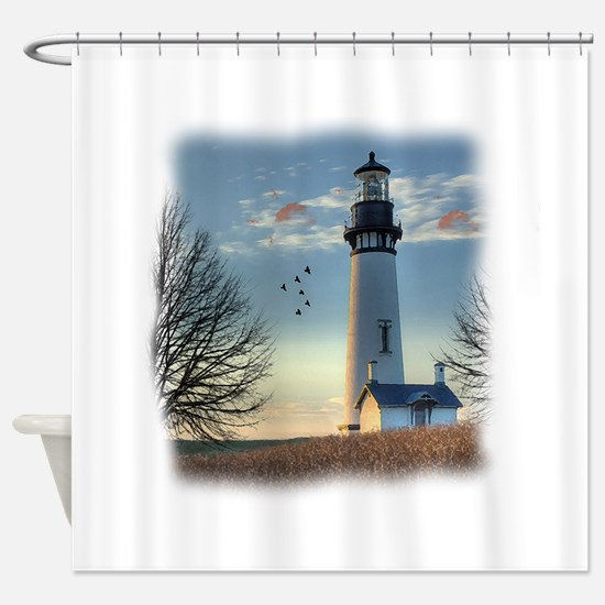 Sunset_Lighthouse Shower Curtain