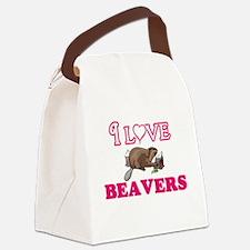 I Love Beavers Canvas Lunch Bag