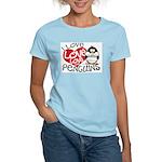 I Love Love Love Penguins Women's Pink T-Shirt