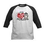 I Love Love Love Penguins Kids Baseball Jersey