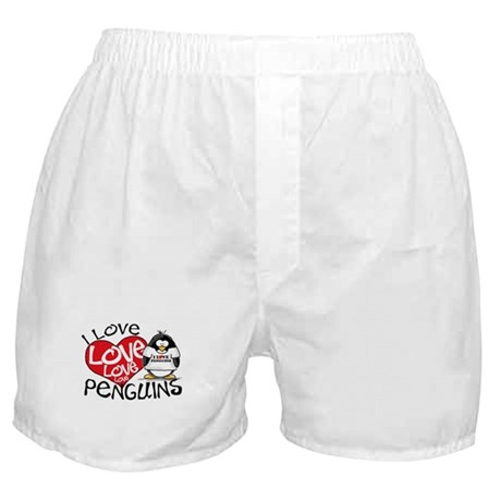 I Love Love Love Penguins Boxer Shorts