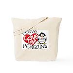 I Love Love Love Penguins Tote Bag