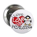 I Love Love Love Penguins Button