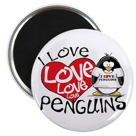 I Love Love Love Penguins Magnet