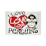 I Love Love Love Penguins Rectangle Magnet
