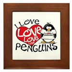I Love Love Love Penguins Framed Tile