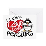 I Love Love Love Penguins Greeting Cards (Package