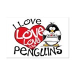 I Love Love Love Penguins Mini Poster Print