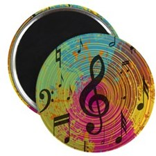 """Bright Music notes on explosion of colour 2.25"""" Ma"""