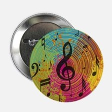 """Bright Music notes on explosion of colour 2.25"""" Bu"""