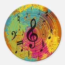 Bright Music notes on explosion of colour Round Ca