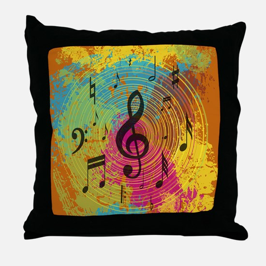 Bright Music notes on explosion of colour Throw Pi