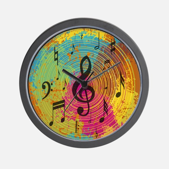 Bright Music notes on explosion of colour Wall Clo