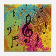 Bright Music notes on explosion of colour Tile Coa