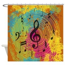 Bright Music notes on explosion of colour Shower C