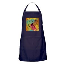 Bright Music notes on explosion of colour Apron (d