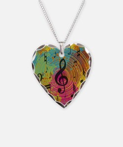 Bright Music notes on explosion of colour Necklace