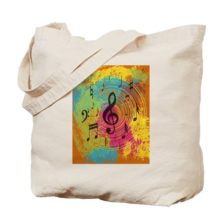 Bright Music notes on explosion of colour Tote Bag