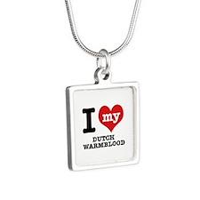 I love my Dutch Warmblood Silver Square Necklace