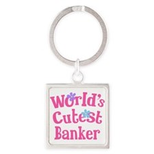 World's Cutest Banker Square Keychain