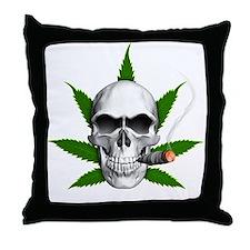 Skull Smoking Weed Throw Pillow