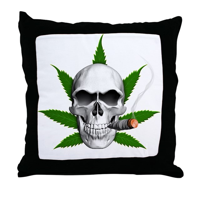 Skull Smoking Weed Throw Pillow By Rotntees