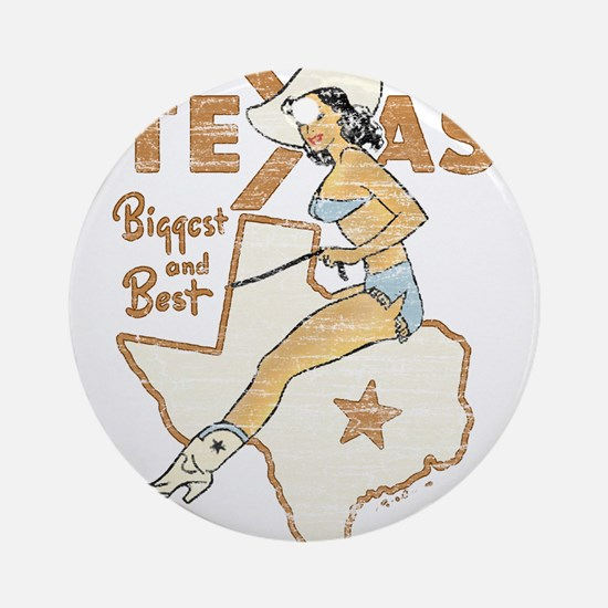 Vintage Texas Pinup Ornament (Round)