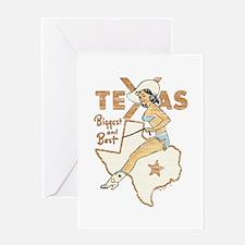Vintage Texas Pinup Greeting Card