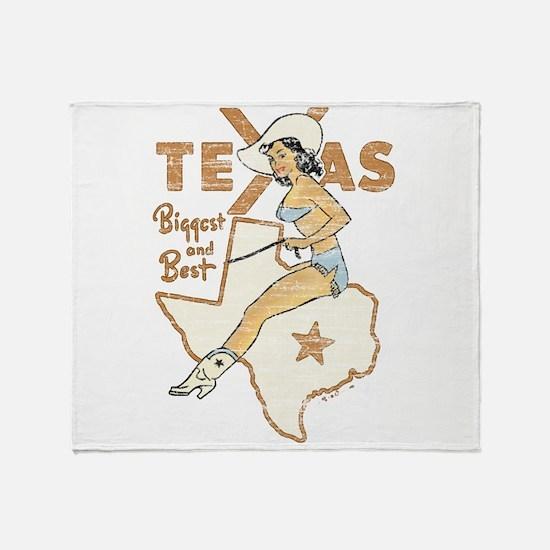 Vintage Texas Pinup Throw Blanket