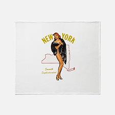 Vintage New York Pinup Throw Blanket