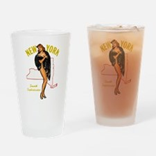 Vintage New York Pinup Drinking Glass