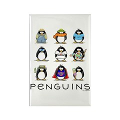 9 Penguins Rectangle Magnet