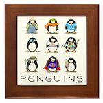 9 Penguins Framed Tile